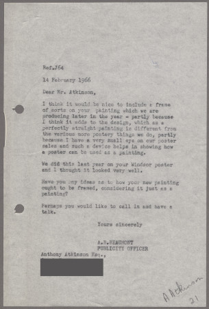 Related object: Letter; from Harold Hutchison to Anthony Atkinson about his poster of Shere Church, 14 February 1966