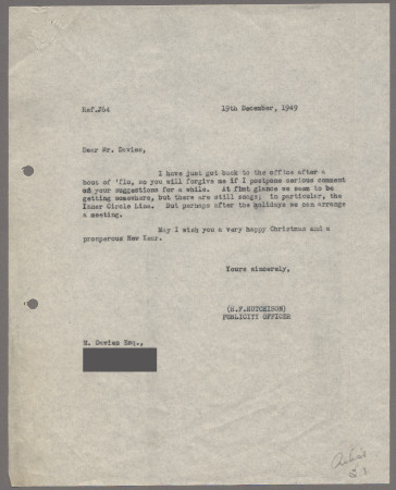 Related object: Letter; from Harold Hutchison to M Davies, 19 Dec 1949
