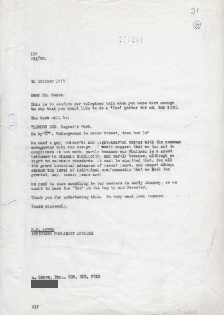 Related object: Letter; from Michael Levey to Abram Games discussing Zoo poster, 31 October 1975