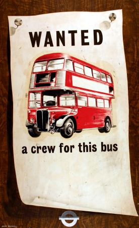Related object: Poster; Wanted a crew for this bus, by Jack Maxwell, 1955