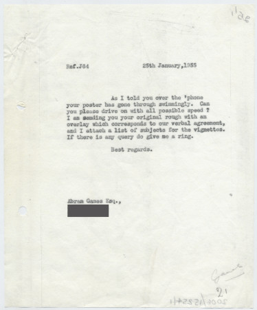 Related object: Letter; from Harold Hutchison to Abram games about vignettes for poster, 25 January 1955