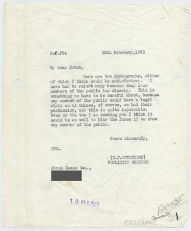 Related object: Letter; from Harold Hutchison to Abram Games about photographs for poster, 18 February 1953