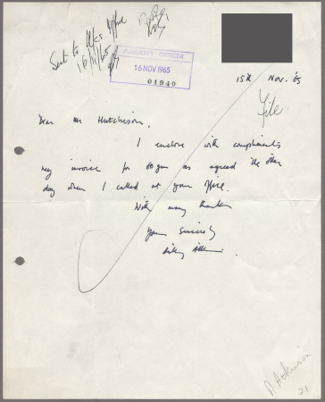Related object: Letter; from Anthony Atkinson to Harold Hutchison about the invoice for a poster of Shere Church, 15 November 1965