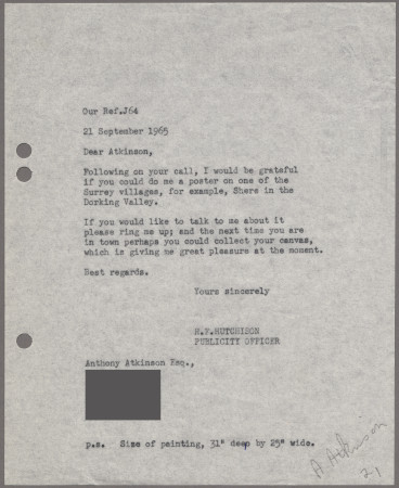 Related object: Letter; from Harold Hutchison to Anthony Atkinson about a poster of Shere Church, 21 September 1965