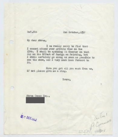 Related object: Letter; from Harold Hutchison to Abram Games about Private View, 2 October 1952