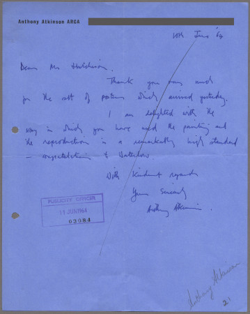 Related object: Letter; from Anthony Atkinson to Harold Hutchison about his commission, 10 June 1964