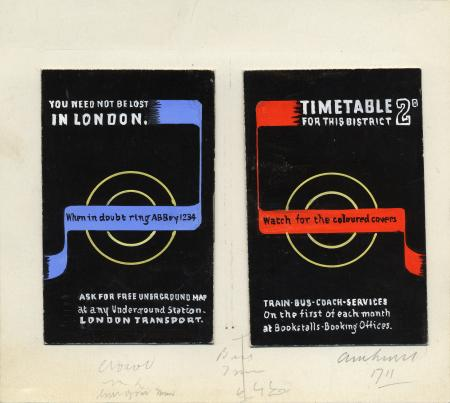 Related object: Artwork; sketch for timetable booklet, by Abram Games, c1950