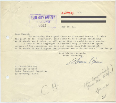 Related object: Letter; from Abram Games to Harold Hutchison, about copyright form, 30 May 1951