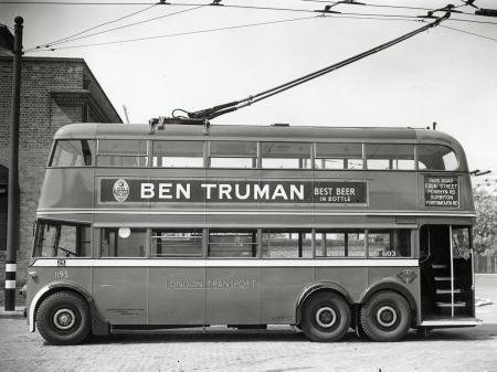 B/w print; k2-type trolleybus no 1195 at fulwell depot, topical press, apr 1945