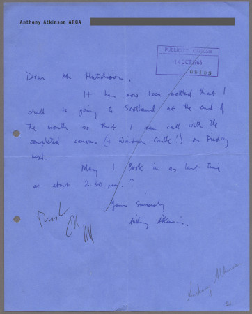 Related object: Letter; from Anthony Atkinson to Harold Hutchison about his completed design, 14 October 1963