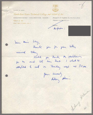 Related object: Letter; from Anthony Atkinson to Harold Hutchison about a meeting to dicuss future work, September 1963