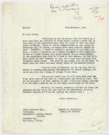 Related object: Letter; Harold Hutchison to Clive Gardiner about a commission for Country Houses poster, 22 November 1950