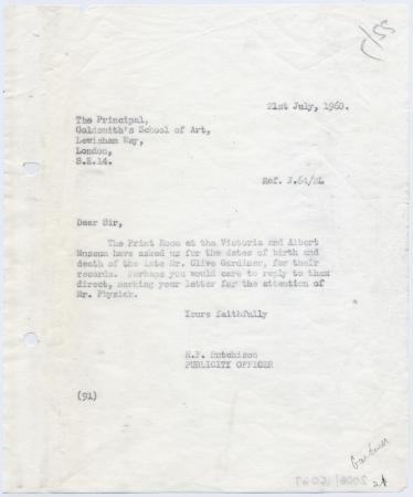 Related object: Letter; Harold Hutchison to Goldsmith