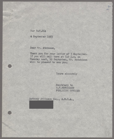 Related object: Letter; from Harold Hutchison to Anthony Atkinson about a meeting to dicuss future work, 4 September 1963