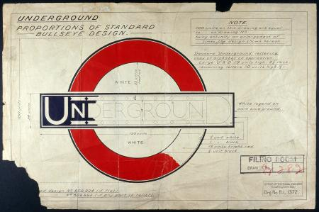 Drawing showing the standard layout of the Registered Design  version of the Johnston Underground bullseye roundel, c1925
