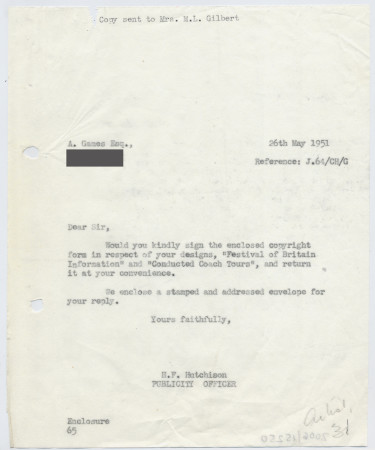 Related object: Letter; from Harold Hutchison to Abram Games requesting he sign copyright form, 26 May 1951