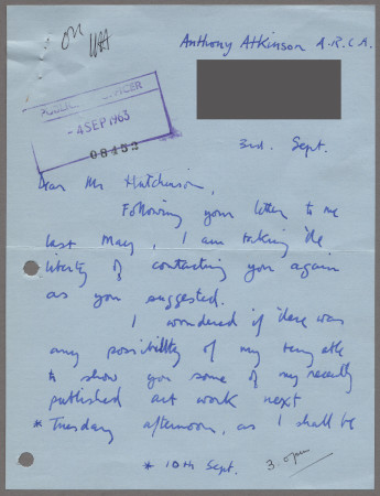 Related object: Letter; from Anthony Atkinson to Harold Hutchison enquiring about future work, 3 September 1963