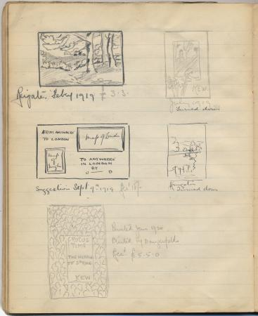 Related object: Artwork; in sketchbook containing poster designs, notes and poems by Albert E Fruin, 1915 - 1917