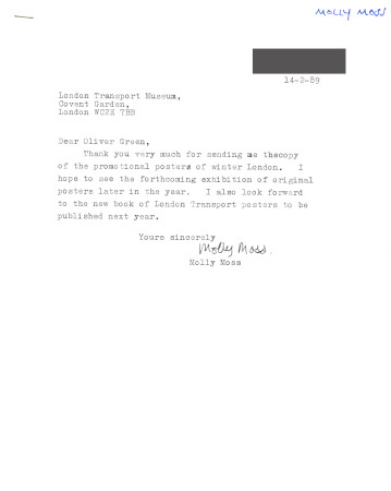 Related object: Letter; Molly Moss to Oliver Green, 14 February 1989