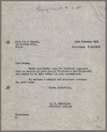Related object: Letter; from Harold Hutchison to Susan Einzig, 12 Feb 1951