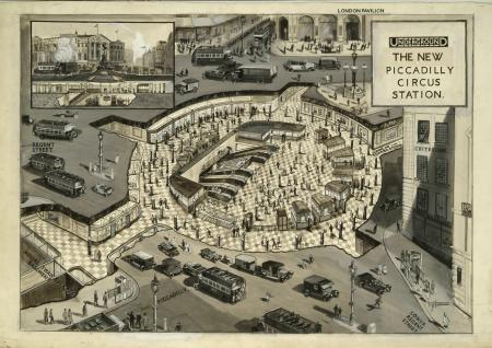 Artwork; The New Piccadilly Circus Station, by P G Davis, 1925