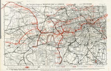 Map; District Railway Miniature Map of London and environs, 1903