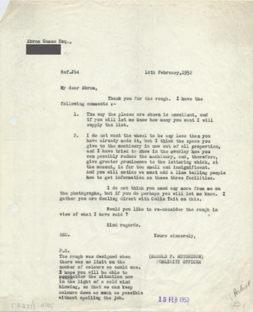 Related object: Letter; from Harold Hutchison to Abram Games discussing Coach Tour poster, 14 February 1952