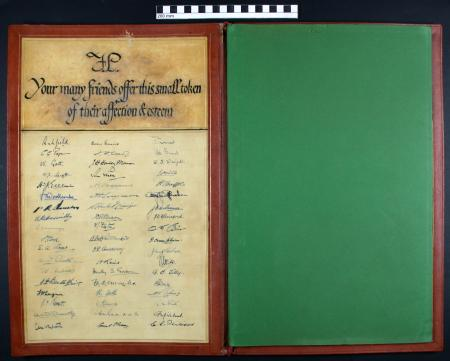 Related object: Blotter; Leather blotter case commissioned from Edward Johnston and presented by LT to Frank Pick to mark his resignation, 1940