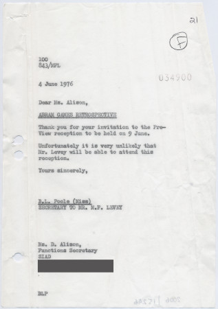 Related object: Letter; from Michael Levey to Society of Illustrators Artists and Designers, about Abram Games retrospective, 4 June 1976