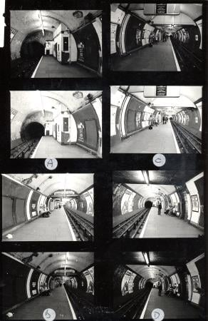 B/w contact print, contact prints showing various platform views of bond street central line station by chorley hyman & rose, 20 apr 1982