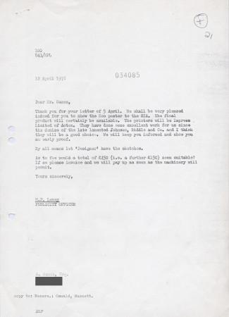 Related object: Letter; from Michael Levey to Abram Games, about display of Zoo poster at an exhibition of the Society of Industrial Artists, 12 April 1976