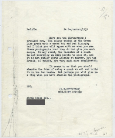 Related object: Letter; from Harold Hutchison to Abram Games about photographs for rover ticket poster, 24 September 1959