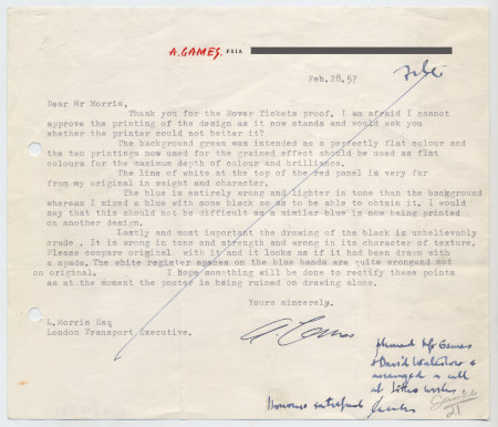 Related object: Letter; from Abram Games to Mr Morris about colour on the Rover Tickets proof, 28 February 1957