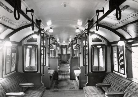 Related object: B/W print; Interior view of 1923-standard tube stock Central line trailer car no 7273 by Topical Press, Oct 1949