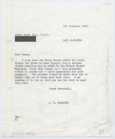Related object: Letter; from Bryce Beaumont to Abram Games about rover ticket poster, 5 October 1956