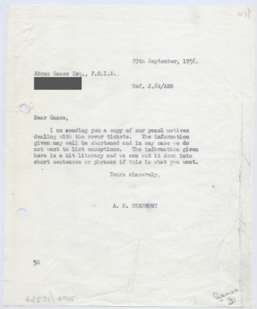 Related object: Letter; from Bryce Beaumont to Abram Games about rover ticket poster, 29 September 1956