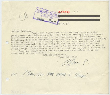 Related object: Letter; from Abram Games to Harold Hutchison re wrong colour on a poster, 18 May 1951