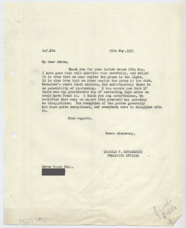 Related object: Letter; from Harold Hutchison to Abram Games discussing the wrong colour on a poster, 25 May 1951