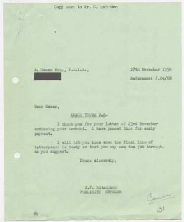 Related object: Letter; from Harold Hutchison to Abram Games regarding an invoice for a coach tour poster, 27 November 1950