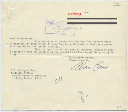 Related object: Letter; from Abram Games to Harold Hutchison regarding an invoice for the coach tour poster, 23 November 1950