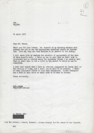 Related object: Letter; from  Michael Levey to Abram Games regarding Zoo poster and Hans Unger exhibition, 21 April 1976