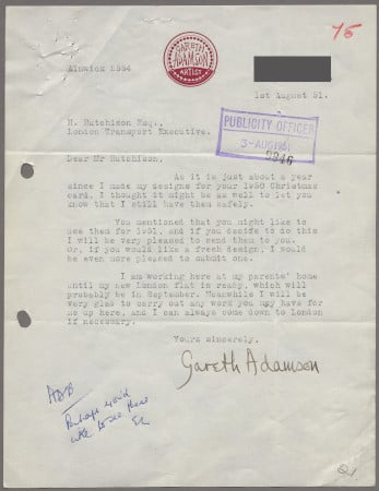 Related object: Letter; from Gareth Adamson to Harold Hutchison about use of his 1950 Christmas design for the 1951 Christmas card, 1 August 1951