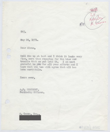 Related object: Letter; from Bryce Beaumont to Abram Games about poster, 24 May 1971