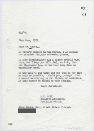 Related object: Letter; from Michael Levey to Abram Games about a design, 21 June 1971