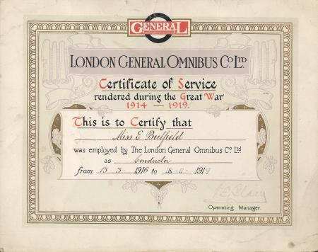 Certificate; l.g.o.c. certificate of service, issued to ellen bulfield for her work as a world war one bus conductor, 1919