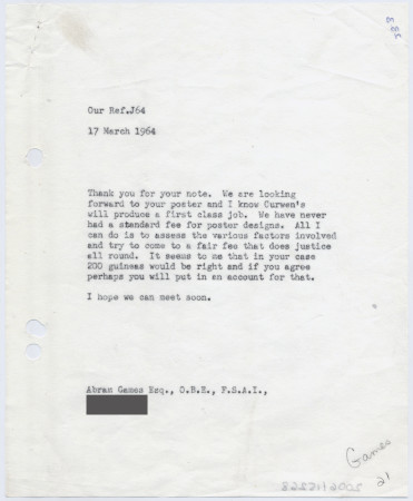 Related object: Letter; from Harold Hutchison to Abram Games about a poster commission, 17 March 1964