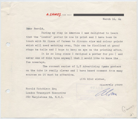 Related object: Letter; from Abram Games to Harold Hutchison about a poster commission, 16 March 1964