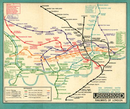 Related object: Map; Pocket Underground map, by London Electric Railway, circa 1932