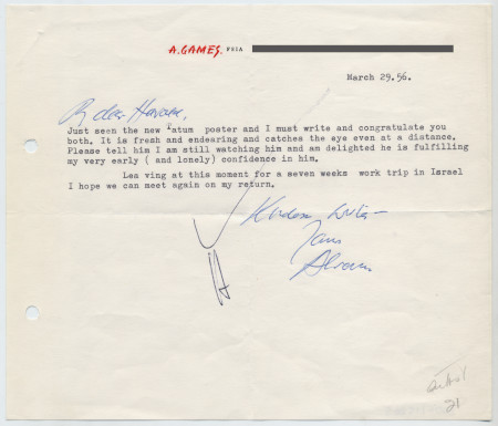 Related object: Letter; from Abram Games to Harold Hutchison re new Tatum poster, 29 March 1956