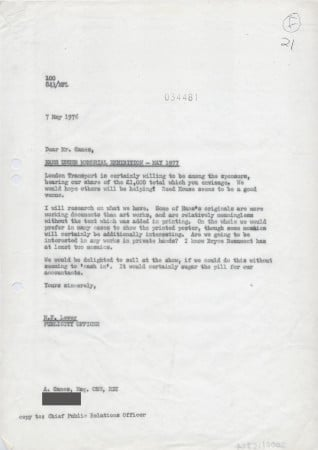Related object: Letter; to Abram Games from Michael Levey about Hans Unger exhibition, 7 May 1976